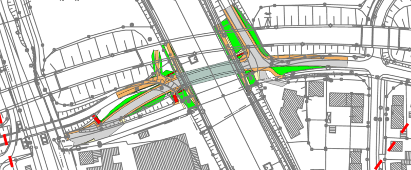 Alternative: Brückenneubau ohne Zerstörung von Waldflächen (Skizze: WSA Rheine)